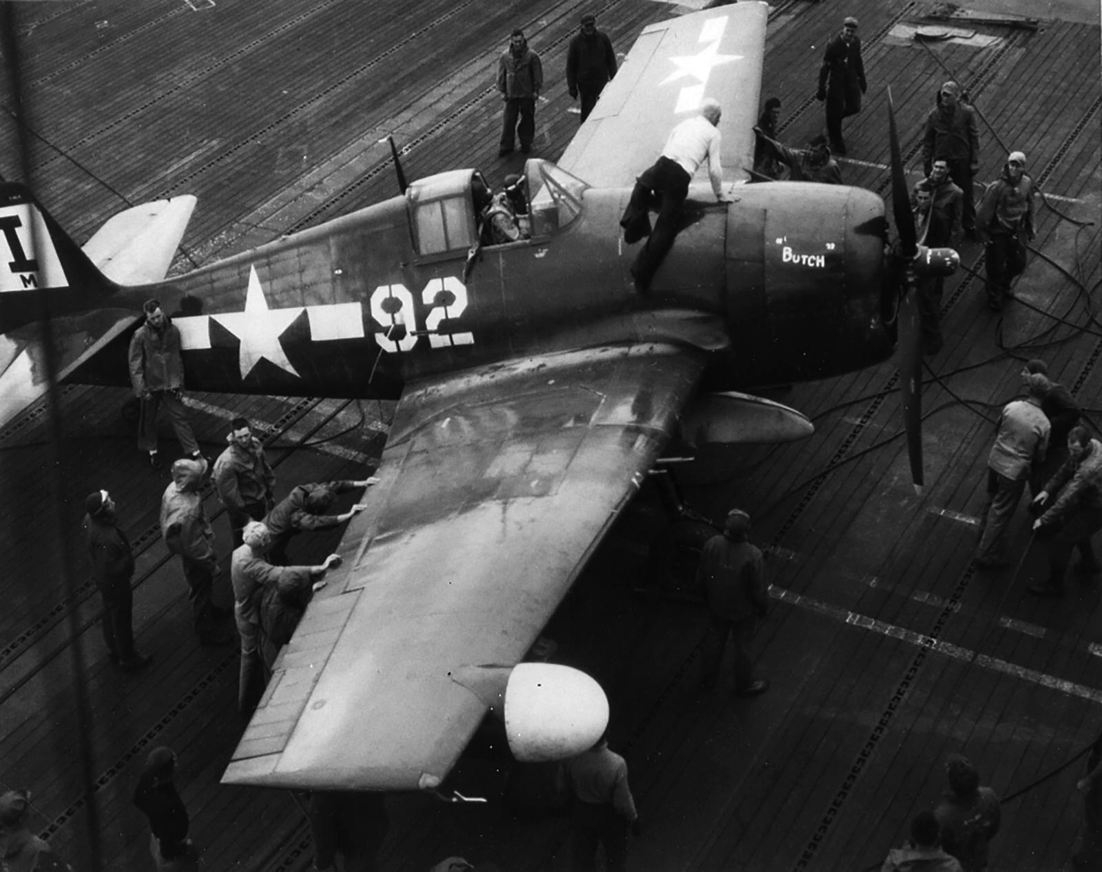 Grumman F6F 5 Hellcat MCVG 1 White 92 aboard CVE 106 USS Block Island II May 1945 01