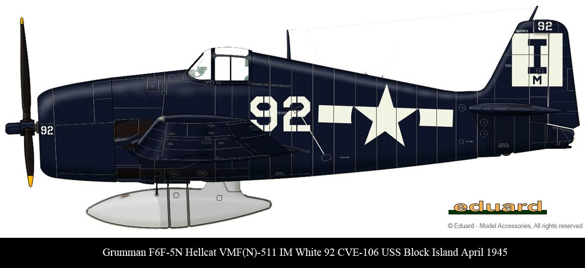 Grumman F6F 5N Hellcat VMFN 511 IM White 92 CVE 106 USS Block Island April 1945 0A