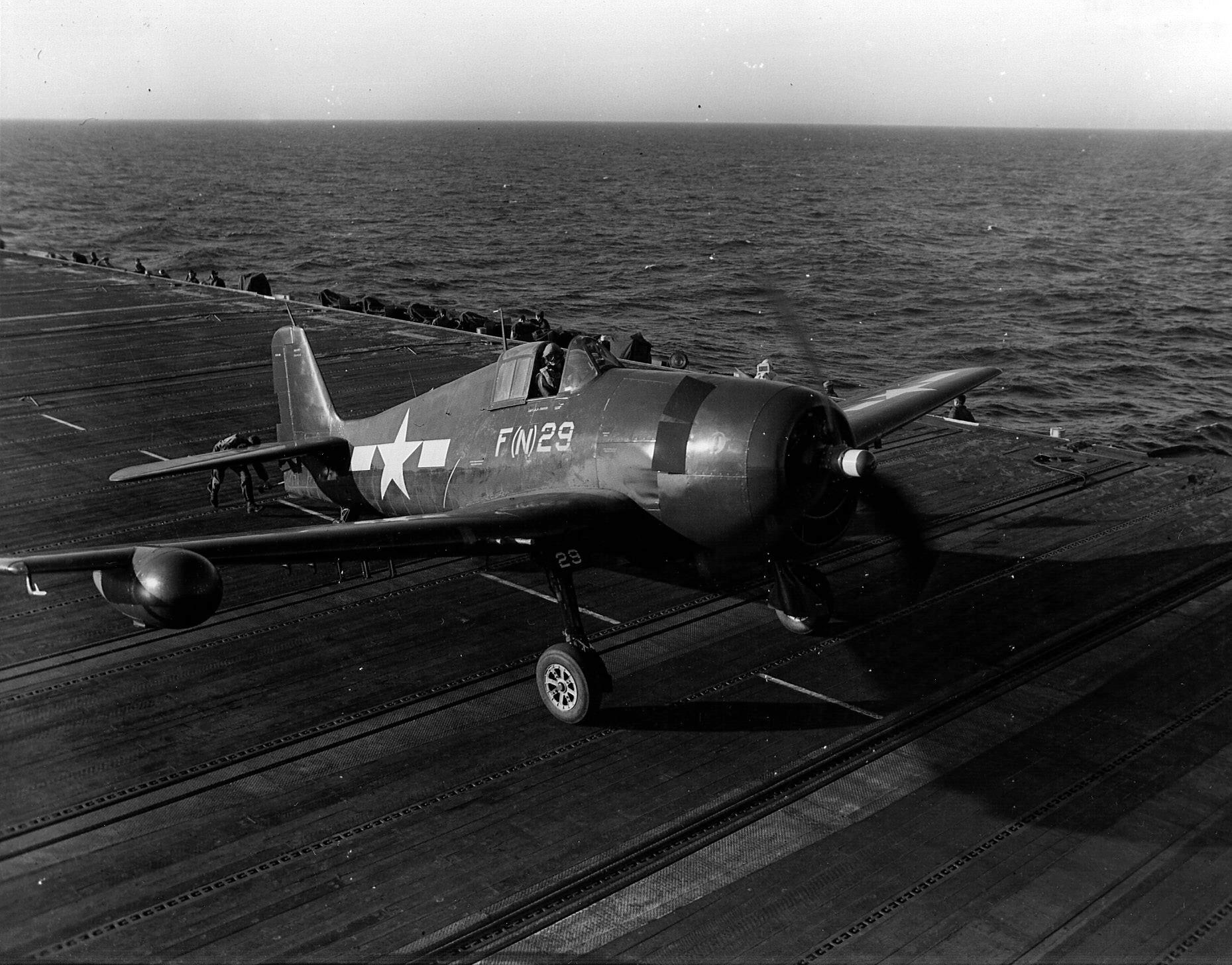 Grumman F6F 5N Hellcat VMFN 511 Red FN29 aboard CVE 106 USS Block Island II 4th Feb 1945 01