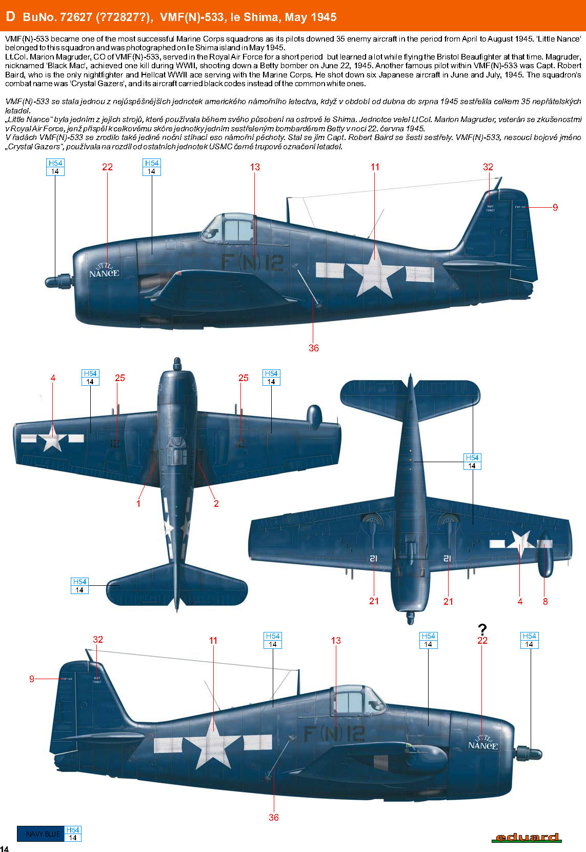 Grumman F6F 5N Hellcat VMFN 533 F(N)12 Little Nance BuNo 72627 Ie Shima May 1945 0A