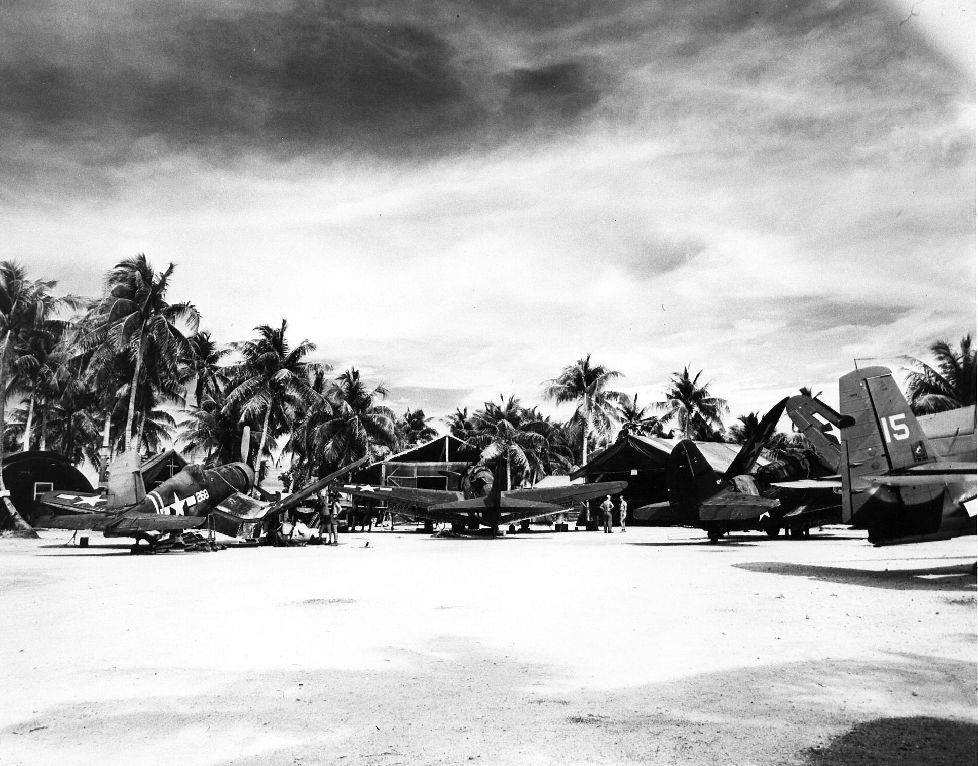 Airbase strip at Falalop Island Ulithi Atoll home to Marine Air Group 45 02