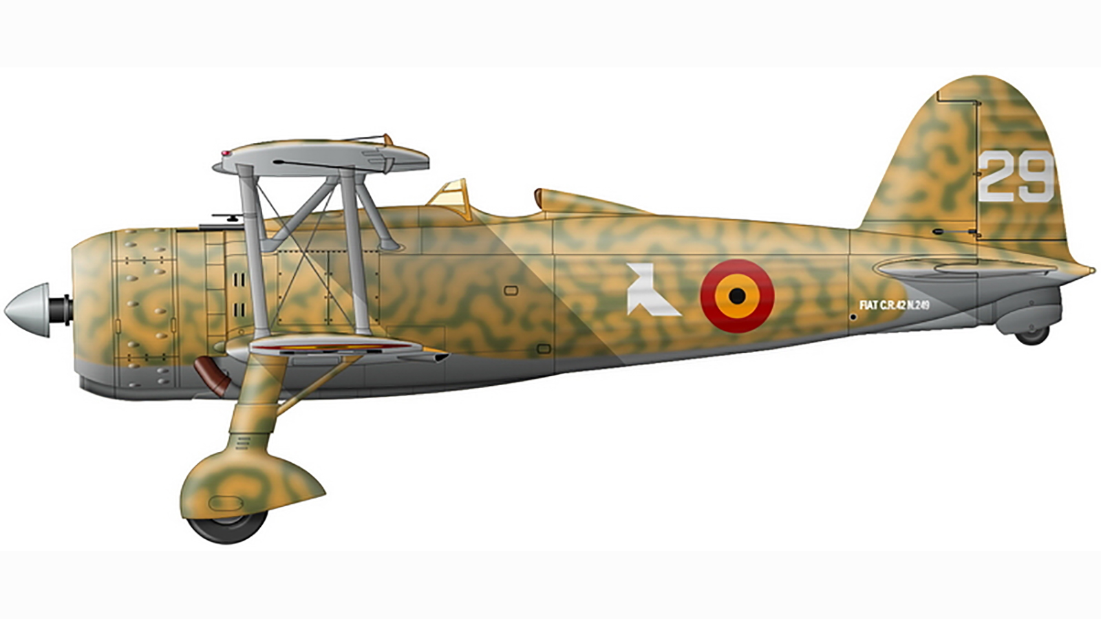 Fiat CR 42 4.II.2Ae Cocotte Blanche R 29 Italian factory no 249 Belgium France May Jun 1940 0A