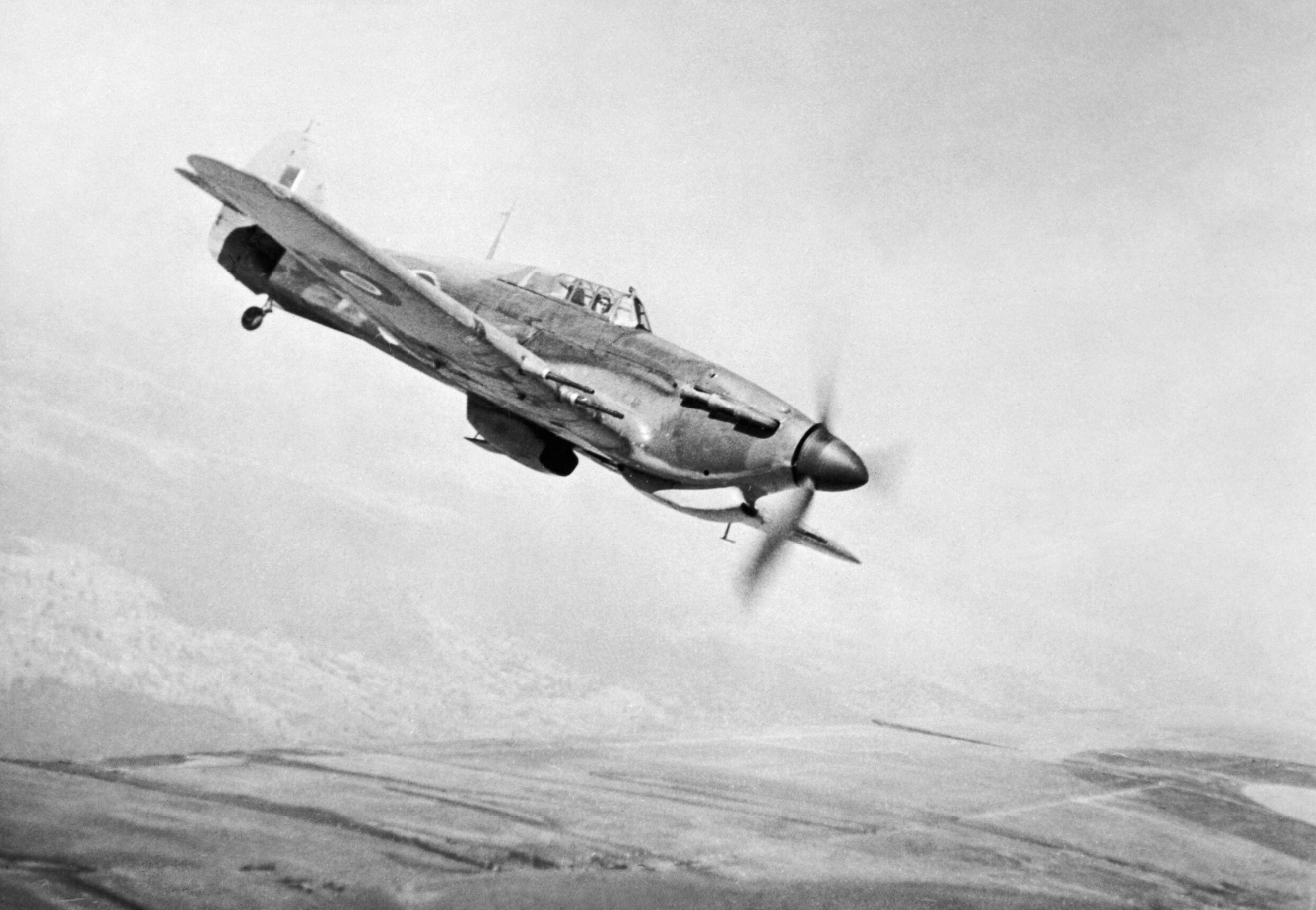 Hurricane IIc RAF 166 Wing in flight from Chittagong in India May 1943 IWM CI191