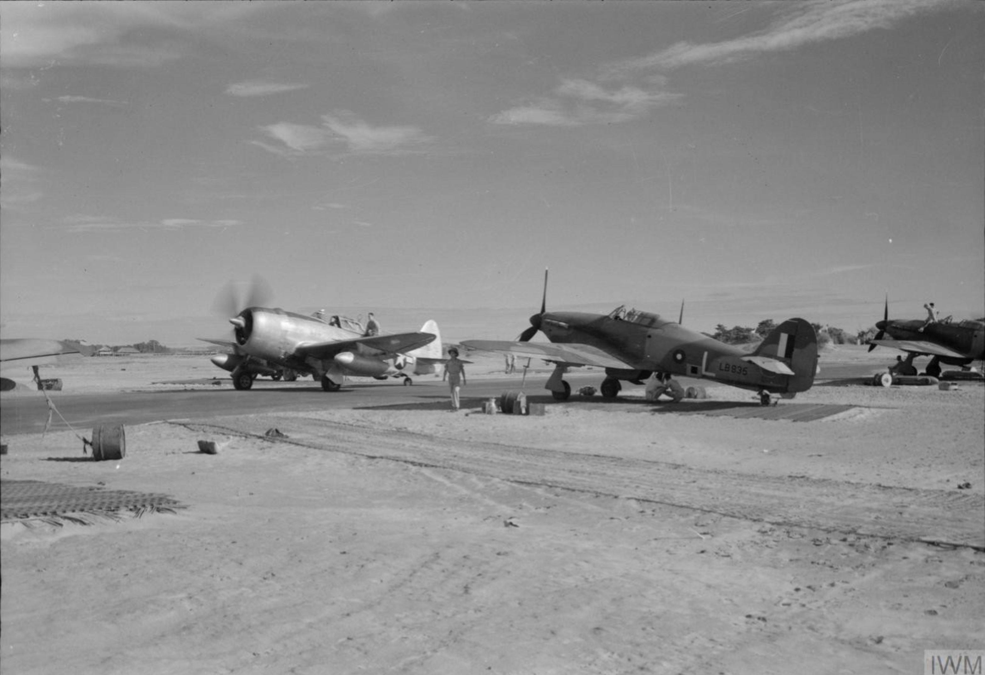 Hurricane IIc RAF 34Sqn L LB395 with P 47D Thunderbolt 10AF 80th Fighter Group Sadaung Burma IWM CF182
