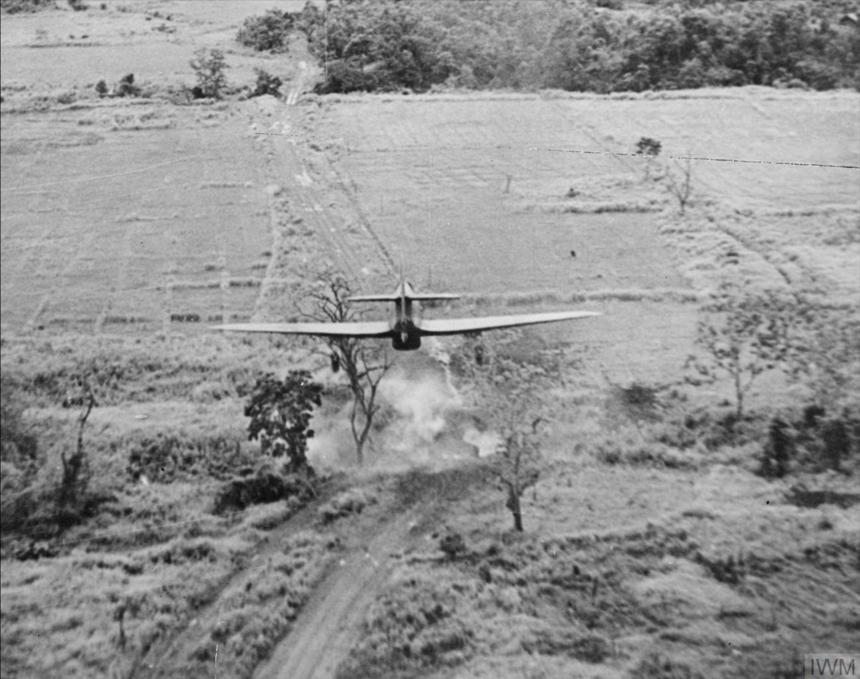 Hurricane IIc RAF 42Sqn attack a bridge on the Nambol River IWM CF176