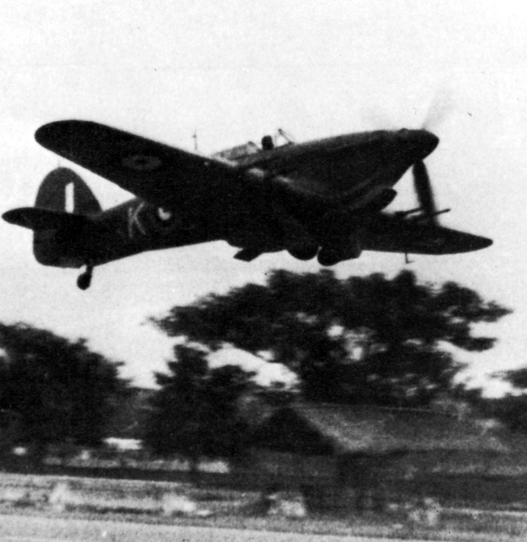 Hurricane IIc Trop RAF 35Sqn K taking off from Calcutta 1942 01