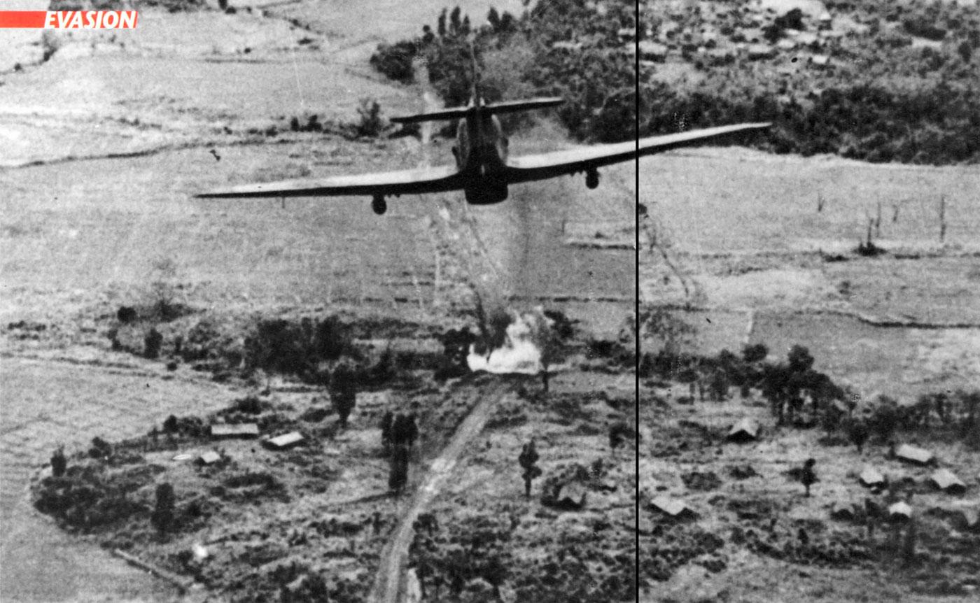 Hurricane IIc Trop RAF 35Sqn firing rockets on Japanese Troops Burma 1944 01