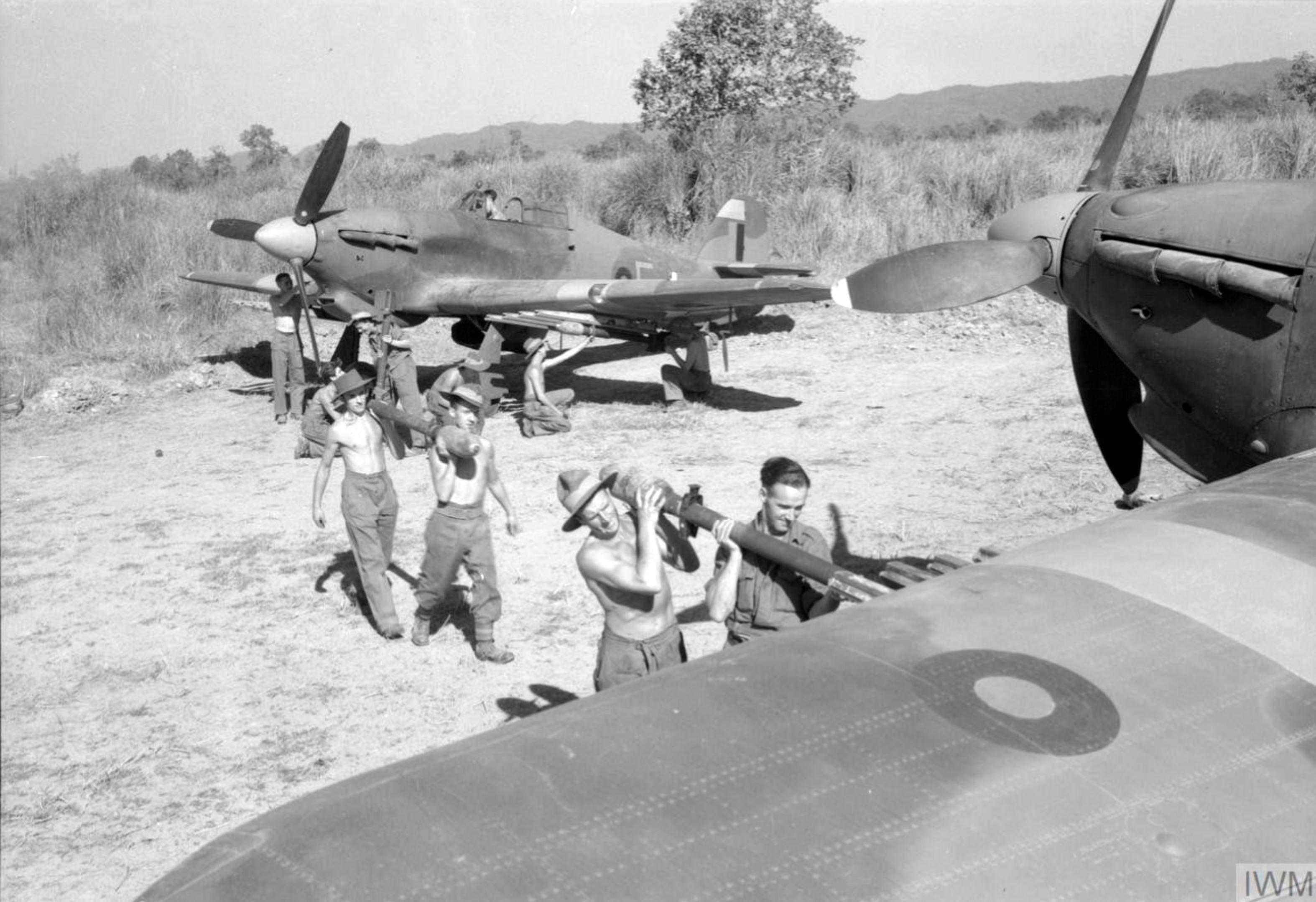 Hurricane IV RAF 170 Wing dispersal area Burma IWM CI992