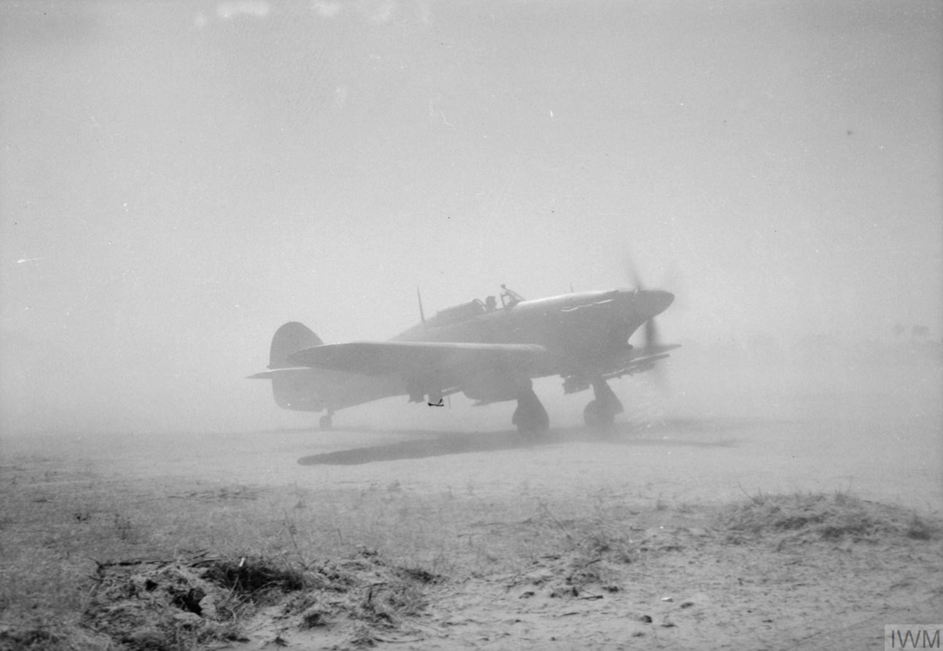 Hurricane IV RAF 221 Group taxies at a forward airfield in Central Burma IWM CF353