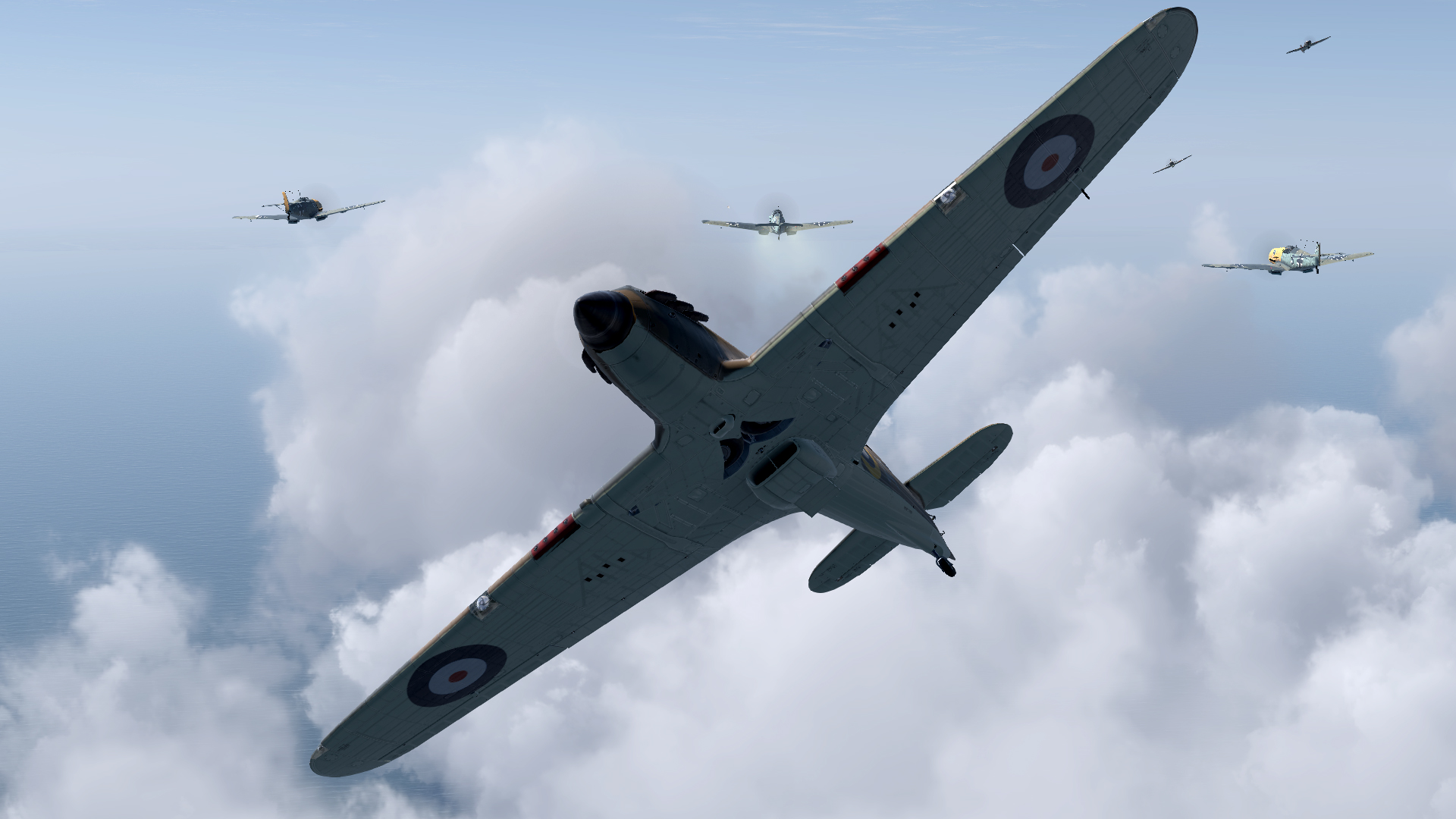 COD asisbiz screenshot Hurricane I RAF 19Sqn dueling with Bf 109s over the Channel V03