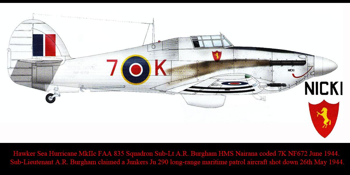 Artwork Hawker Sea Hurricane IIc FAA 835NAS 7K NF672 HMS Nairana 1944 0A
