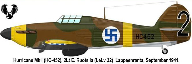 Artwork Hurricane I FAF LeLv32 5 HC452 Lappeenranta Finland Sep 1941 0A