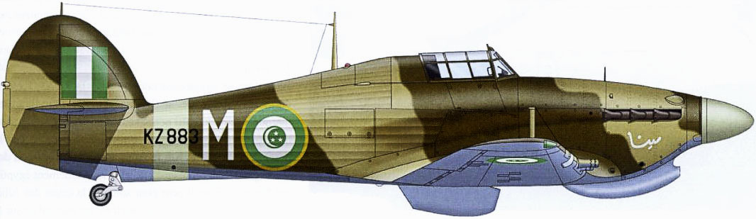 Hurricane IIc Trop Egyptian Air Force 1411 Meteorological Flight White M KZ883 Le Caire 1945 0A