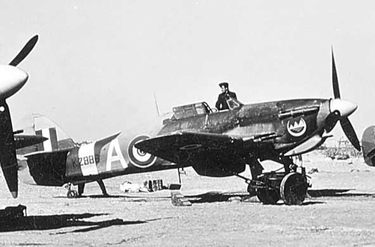 Hurricane IIc Trop Egyptian Air Force 2 Sqn White A KZ886 Mersa Matruh Egypt 1944 01