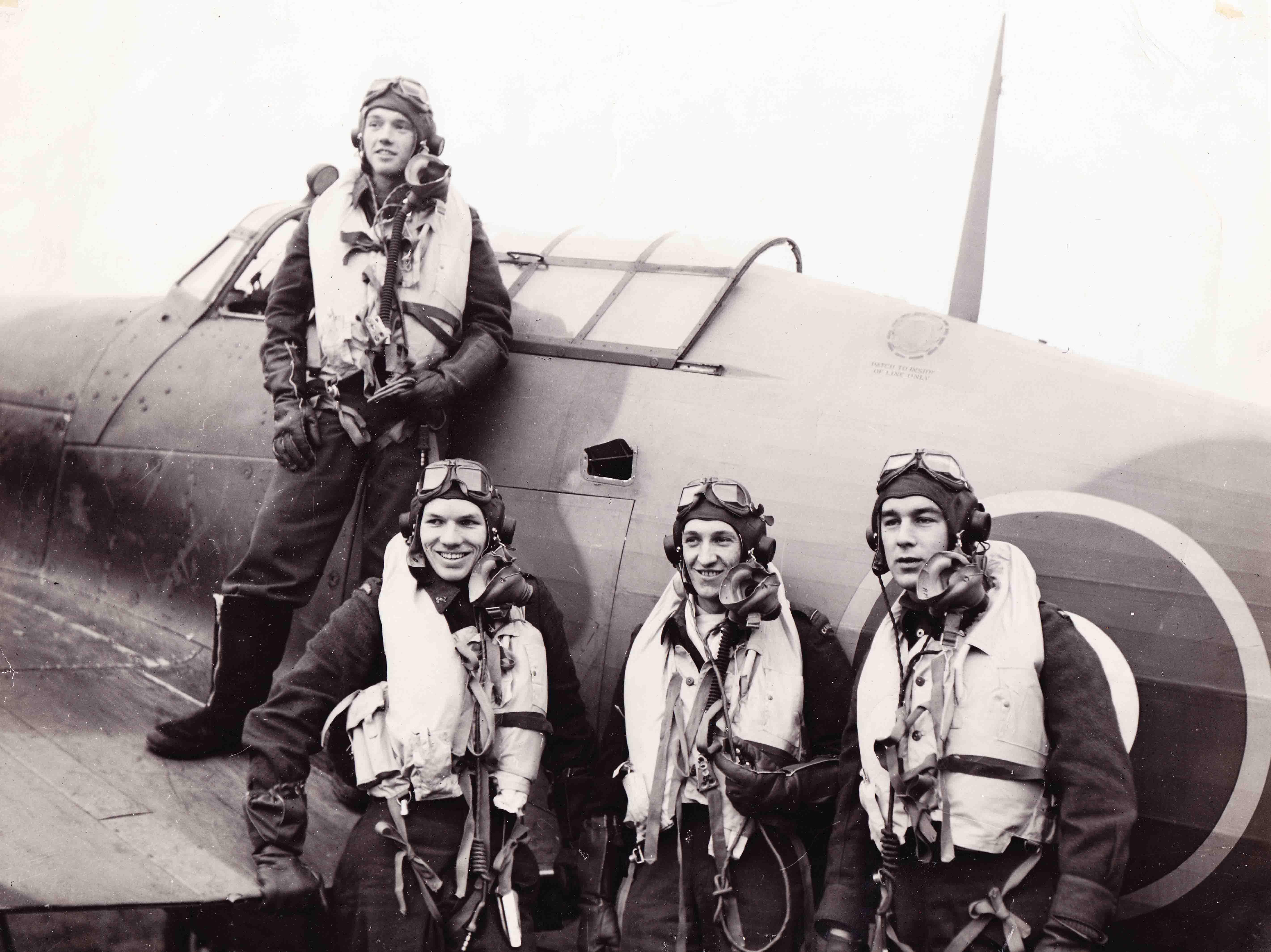 Aircrew RCAF 438Sqn L R PO Johnson, PO Reid, FO Dawber n FO McKenzie at RAF Ayr Scotland Jan 1944 01.jpg