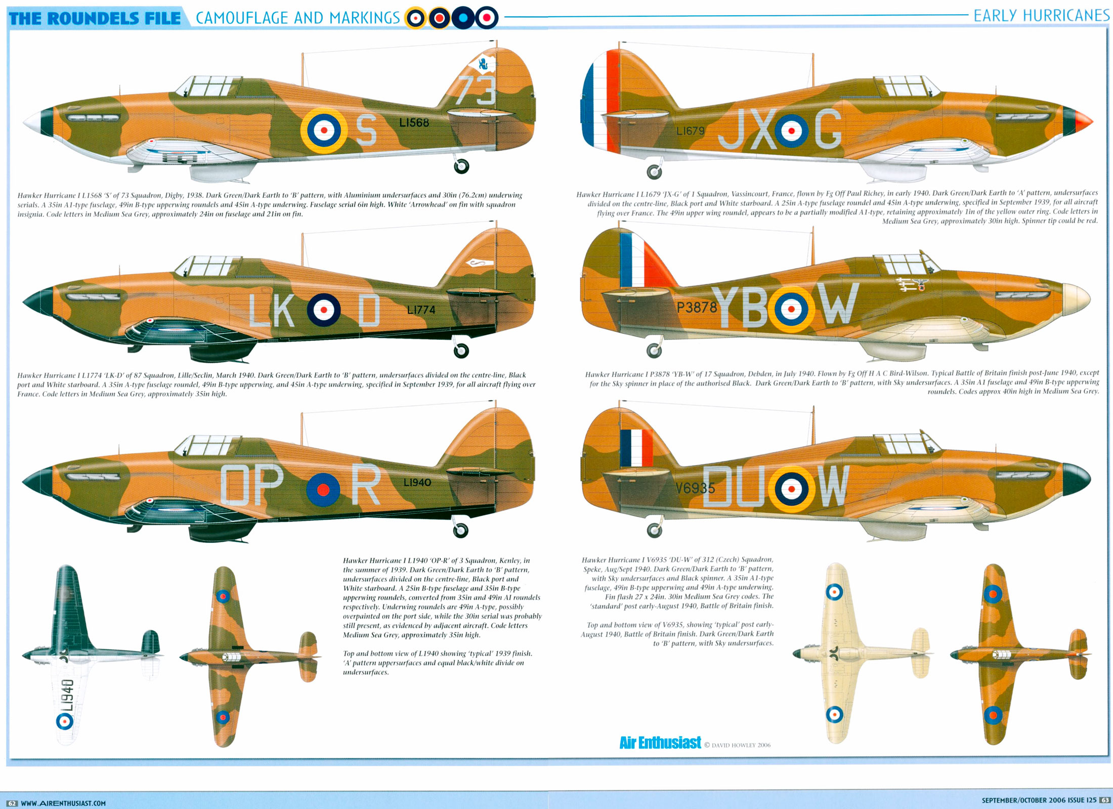 Artwork Hawker Hurricane Is early war camouflage schemes by AIR Enthusiast Sep 2006 0A