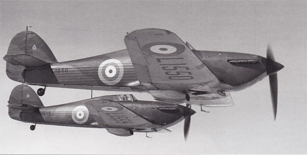 Hawker Hurricane I RAF L1550 and L1559 aerial photo showing early RAF markings England 01