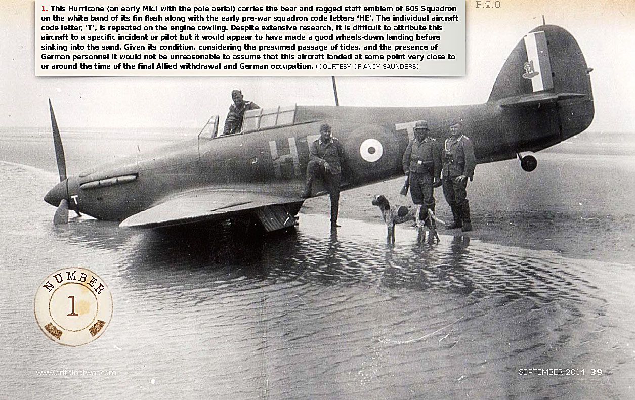Hurricane I RAF 605Sqn HET forced landed on a French Beach 1940 01
