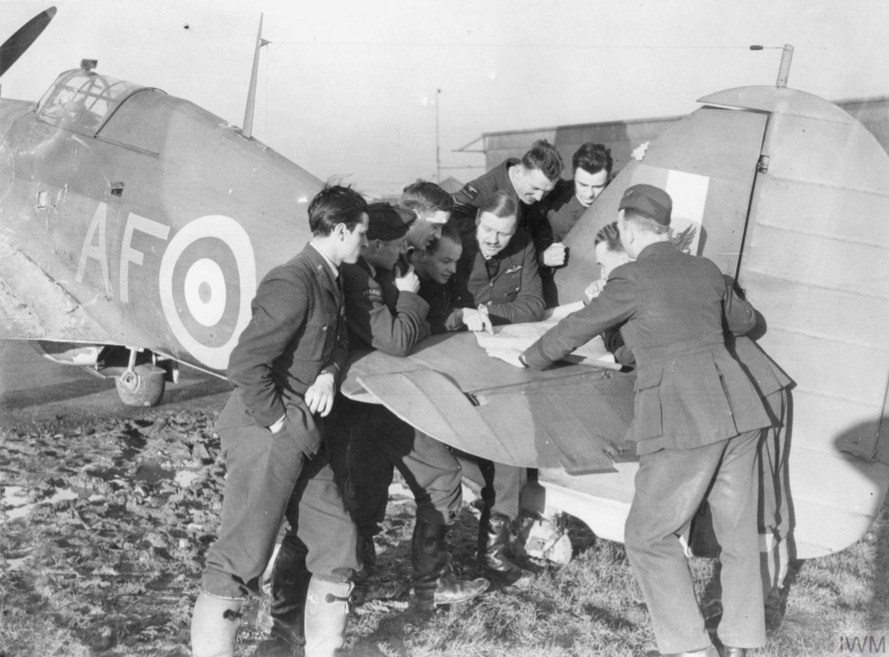 Hurricane I RAF 607Sqn AF with Polish pilots at RAF Usworth 14 Jan 1941 IWM HU92830