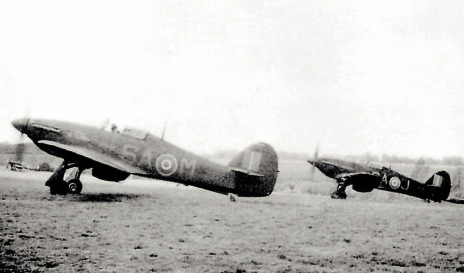 Hurricane II RAF 486Sqn SAM Z3353 and SAJ taxing at Wittering England 1940 01