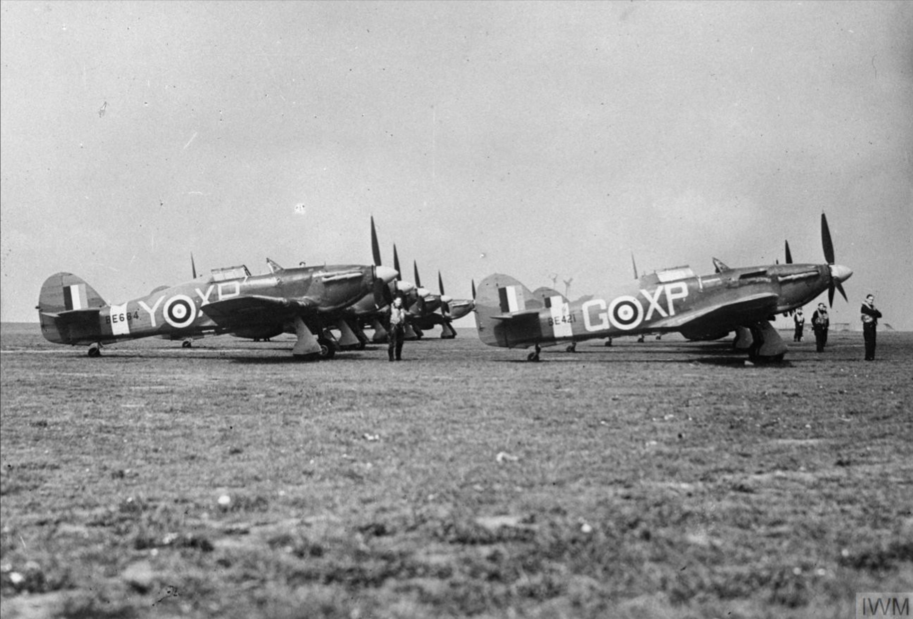 Hurricane IIb RAF 174Sqn XPG BE421 and XPY BE684 at Manston Kent IWM CH5627
