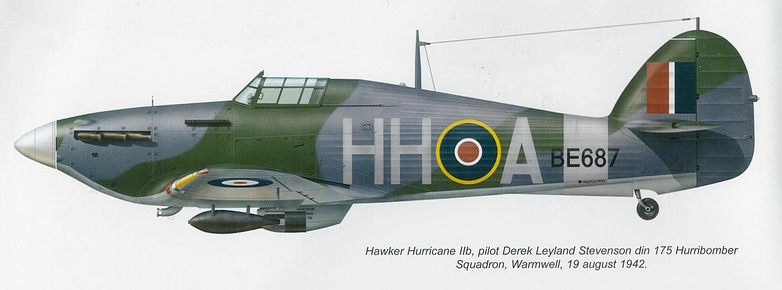 Hurricane IIb RAF 175Sqn HHA Derek Leyland BE687 Warmwell 19th Aug 1942 0A