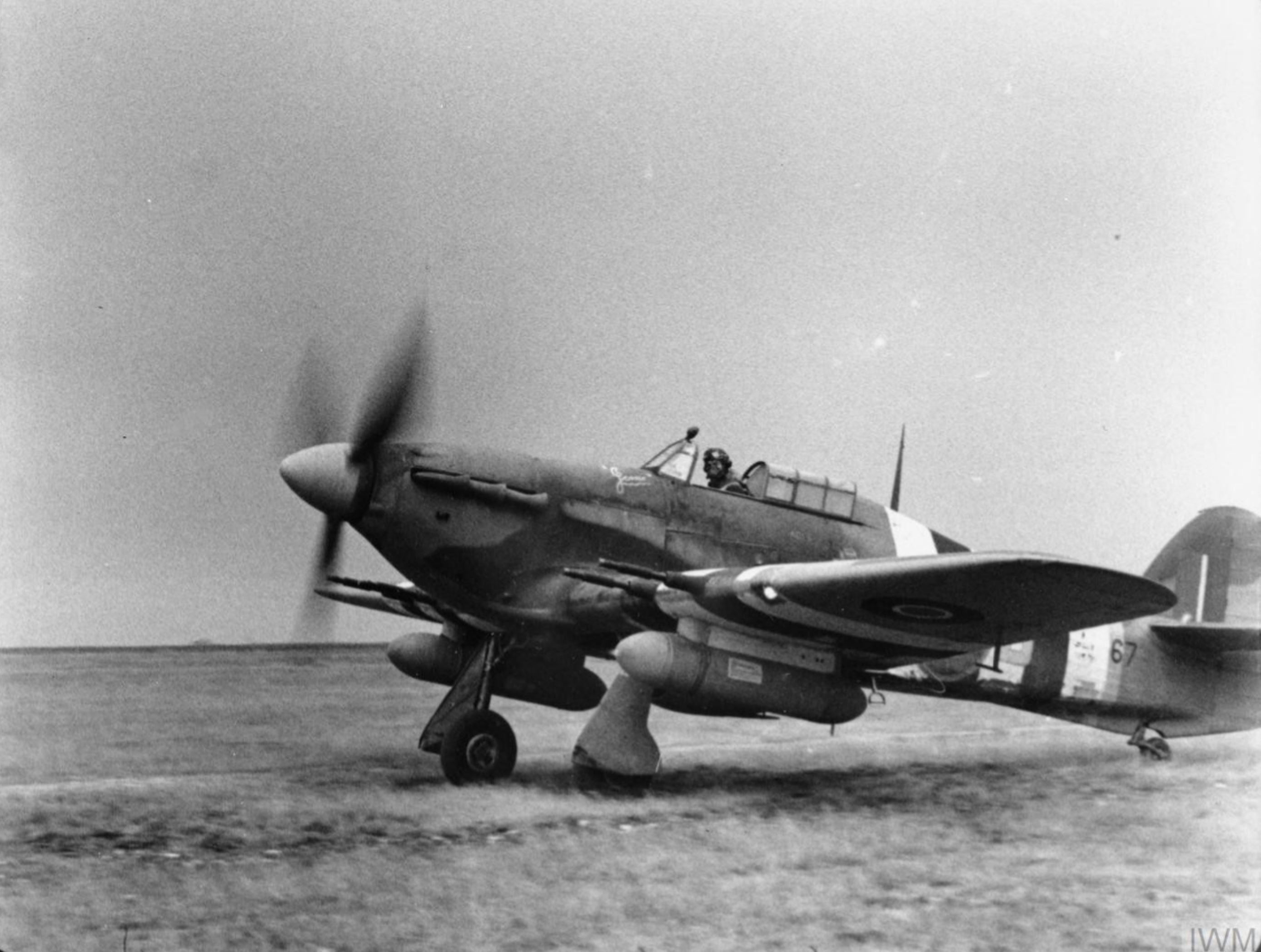 Hurricane IIc RAF 1697ADLS DRB MW367 landing at Hampshire Jun 1944 IWM FLM2582