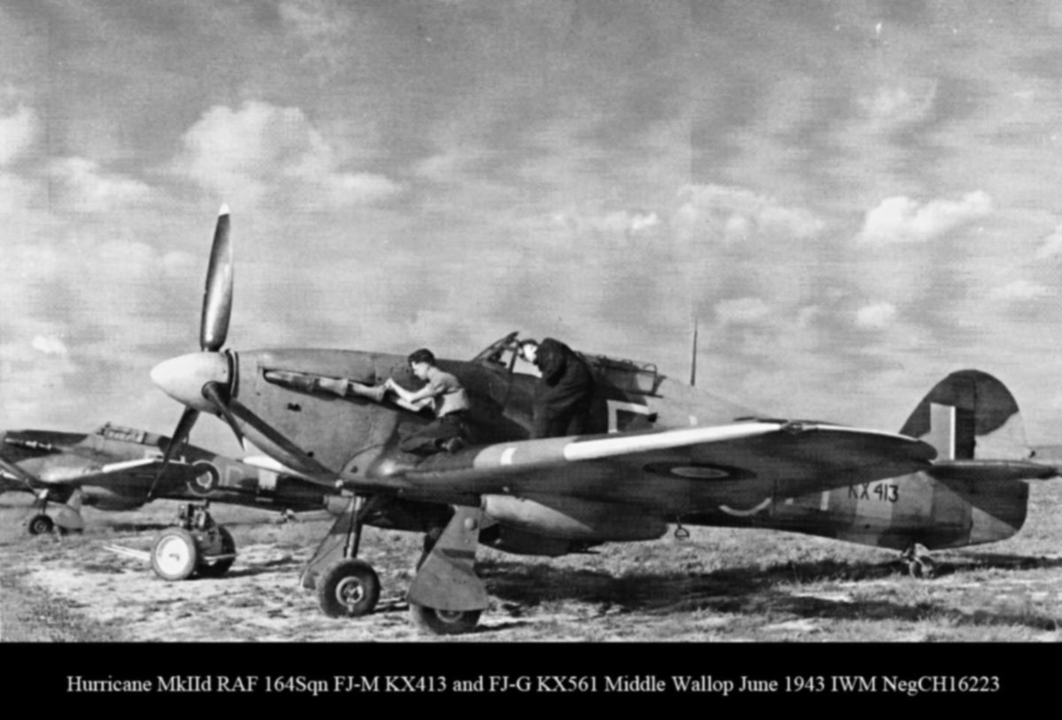 Hurricane IId RAF 164Sqn FJM KX413 and FJG KX561 Middle Wallop June 1943 IWM NegCH16223