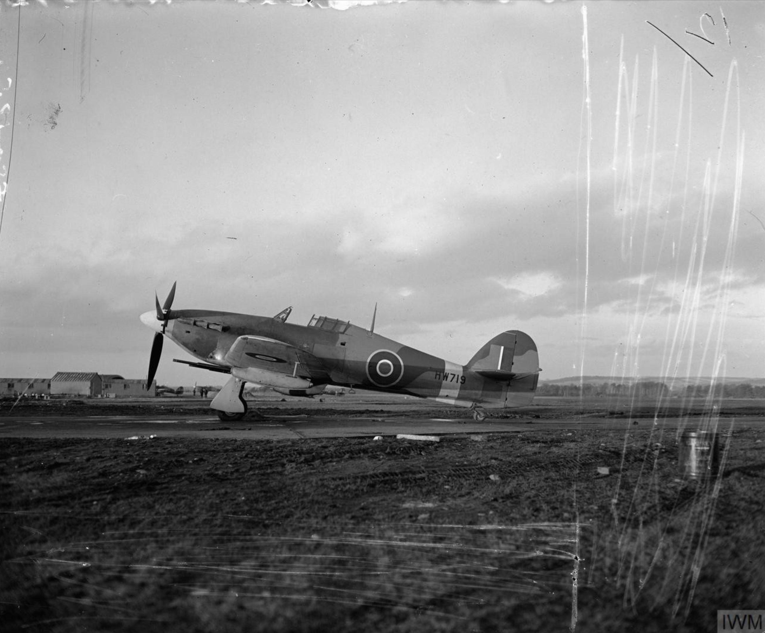 Hurricane IId RAF 1SLAIS HW719 with 40mm Vickers anti tank guns at Milfield Northumberland IWM CH18135