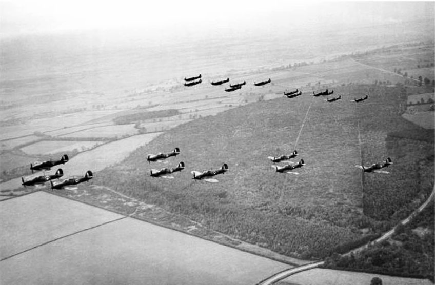 Showing group formations RAF 1Sqn Hurricanes and RAF 266Sqn Spitfires over England Oct 1940 01