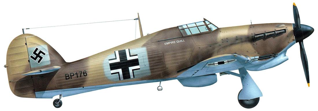 Captured Luftwaffe Hurricane IIb Trop RAF BP176 captured by German Forces North Africa 1941 0A