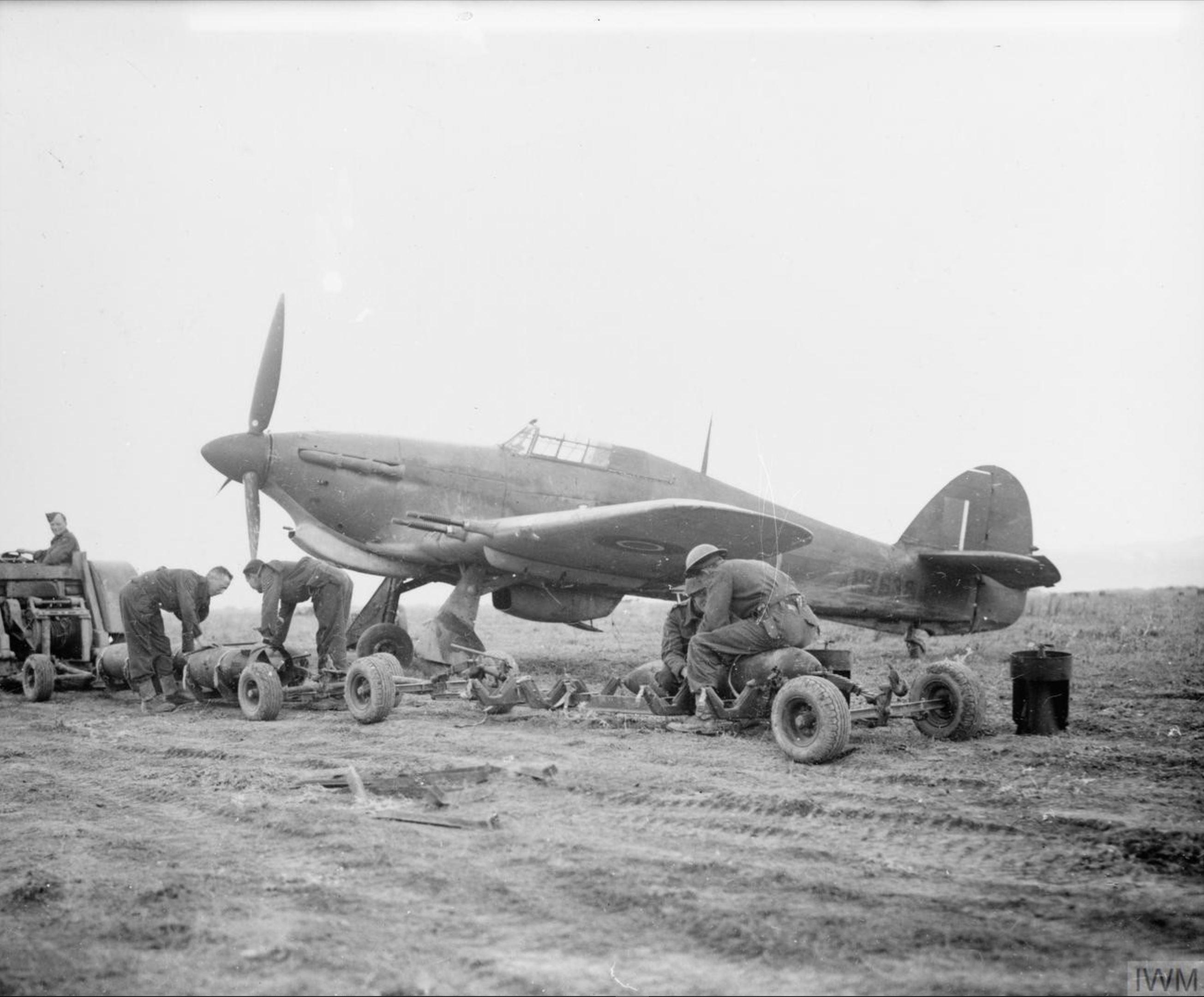 Hawker Hurricane IIc RAF 241Sqn HV638 at Souk el Arba Tunisia 1943 IWM CNA77