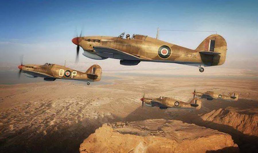 Hawker Hurricane IIc Trop RAF HL735 over North Africa 01