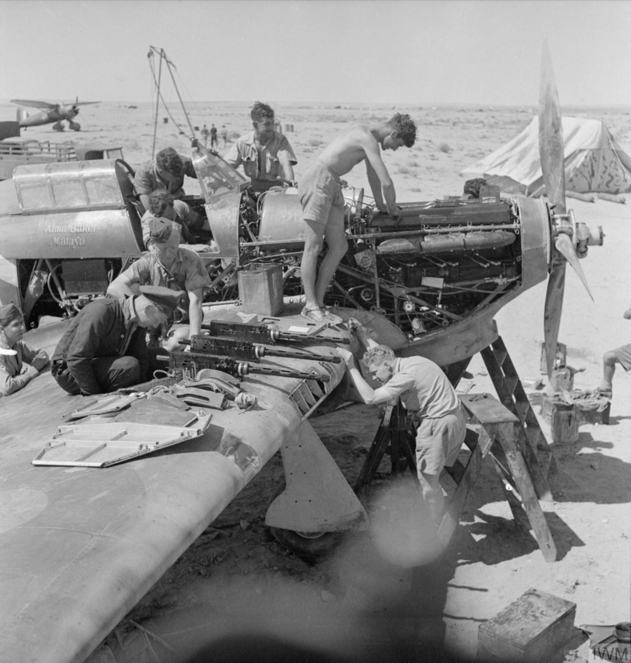 Hurricane I RAF 274Sqn Alma Baker Malaya V7780 at LG10 Gerawala Libya during the defence of Tobruk IWM CM726
