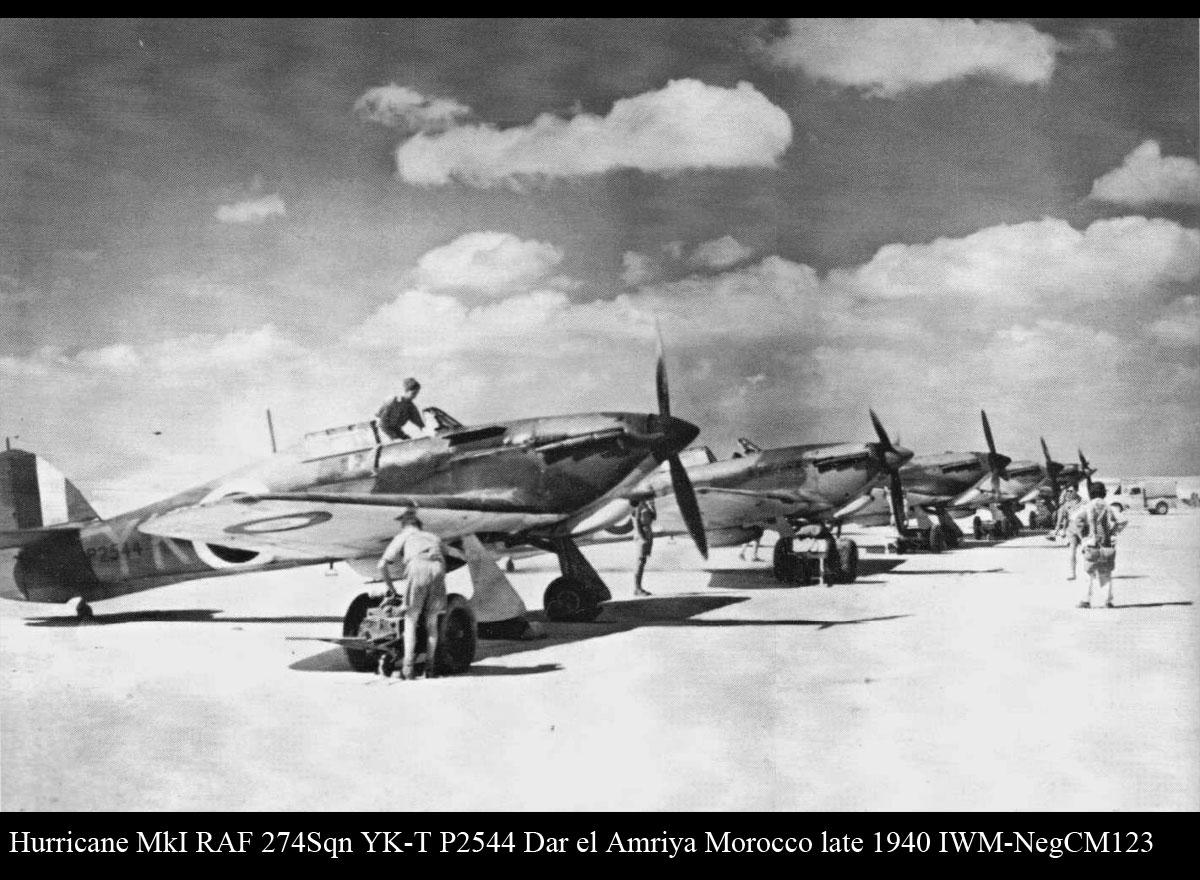 Hurricane I RAF 274Sqn YKT P2544 Dar el Amriya Morocco late 1940 IWM CM123