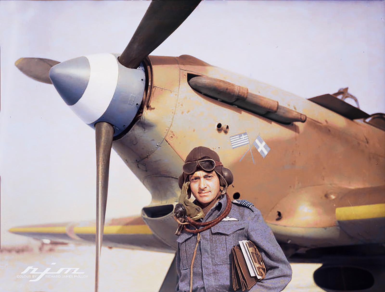 Hurricane I RAF 335Sqn at Aqir Palestine IWM CM2212b
