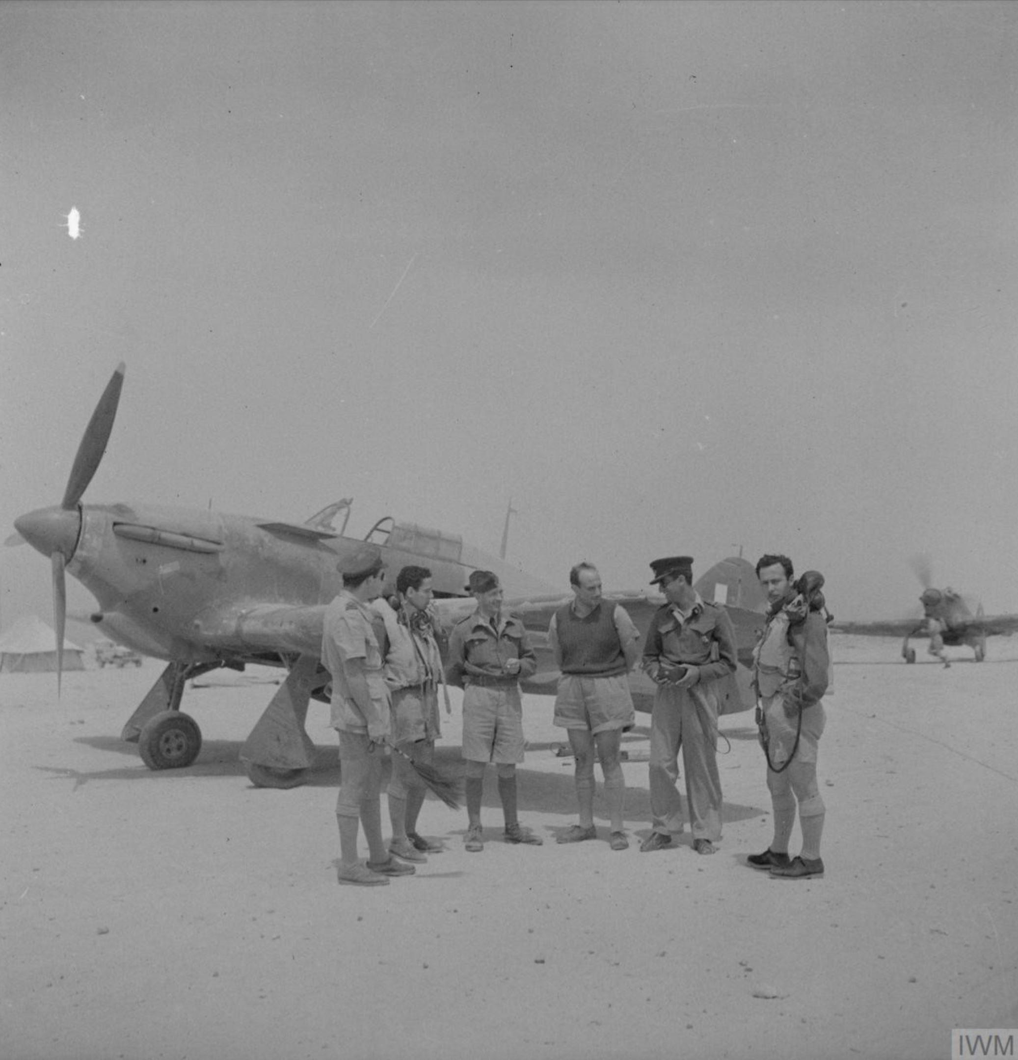 Hurricane I RAF 335Sqn at LG20 Qotafiyah I west of Daba Egypt IWM CBM1720