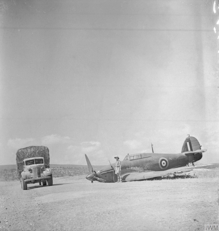 Hurricane I RAF forced landed during the advance into Syria 20 Jun 1941 IWM E3208E