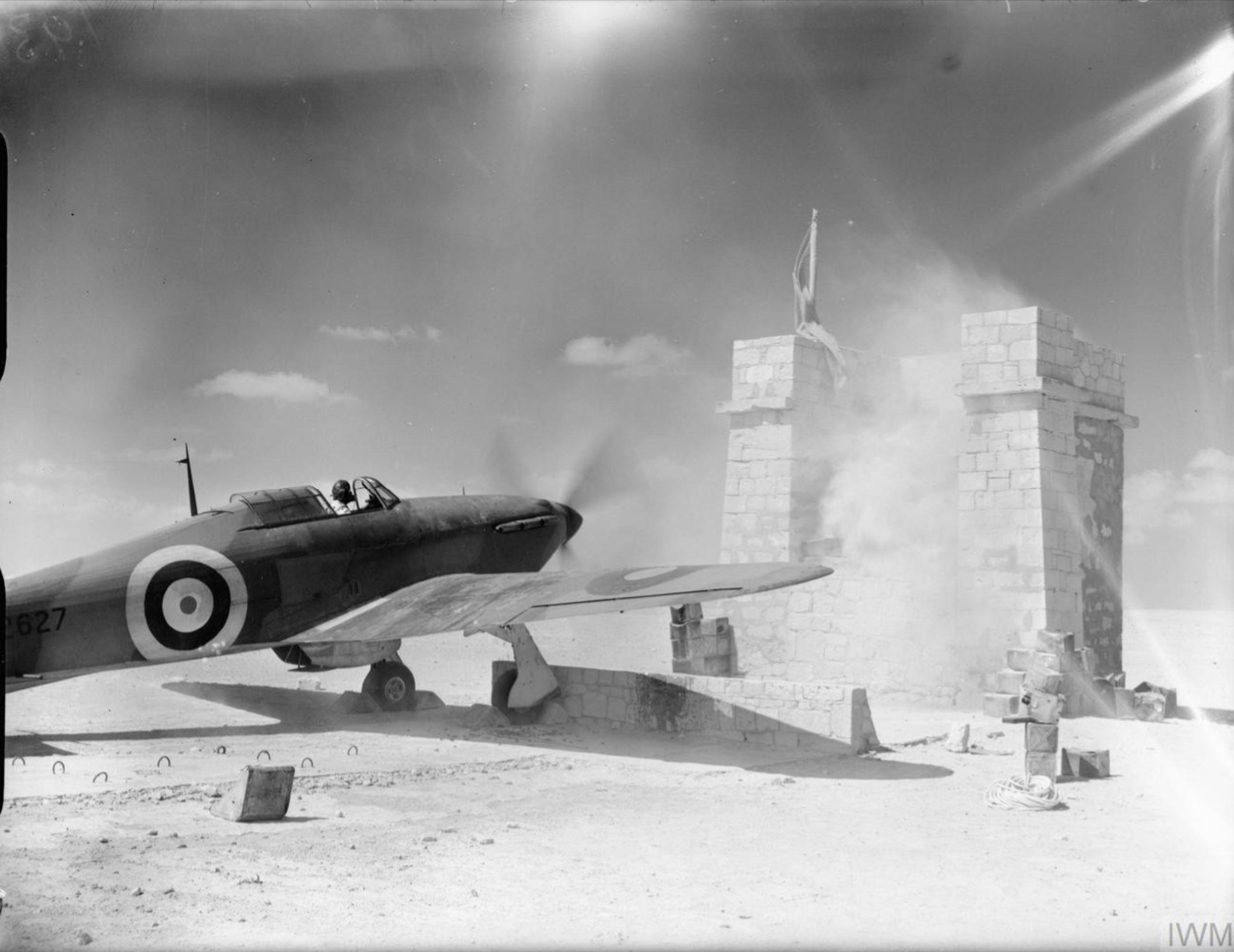 Hurricane I Trop RAF 274Sqn P2627 at Amriya Egypt 1941 IWM CM127
