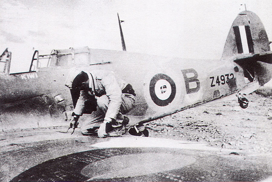 Hurricane I Trop RNFS Kiwi OLB Sub Lt M F Fell Z4932 shot down by 4.JG27 Otto Schutz 01
