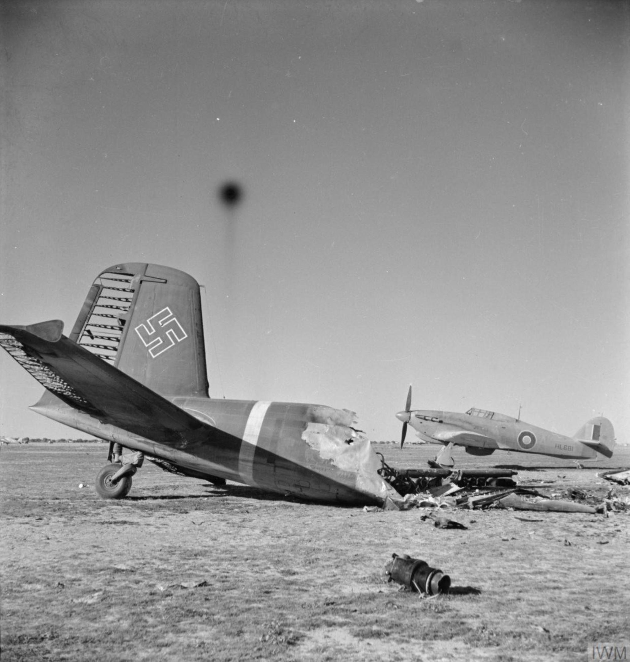 Hurricane IIb RAF 274Sqn A HL681 based at Castel Benito Tripolitania IWM CM4538