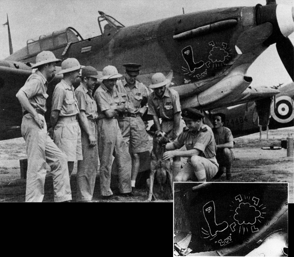 Hurricane IIb Trop RAF 128Sqn BD897 SLdr Billy Drake and other leaders with Z4484 background Egypt 1941 01