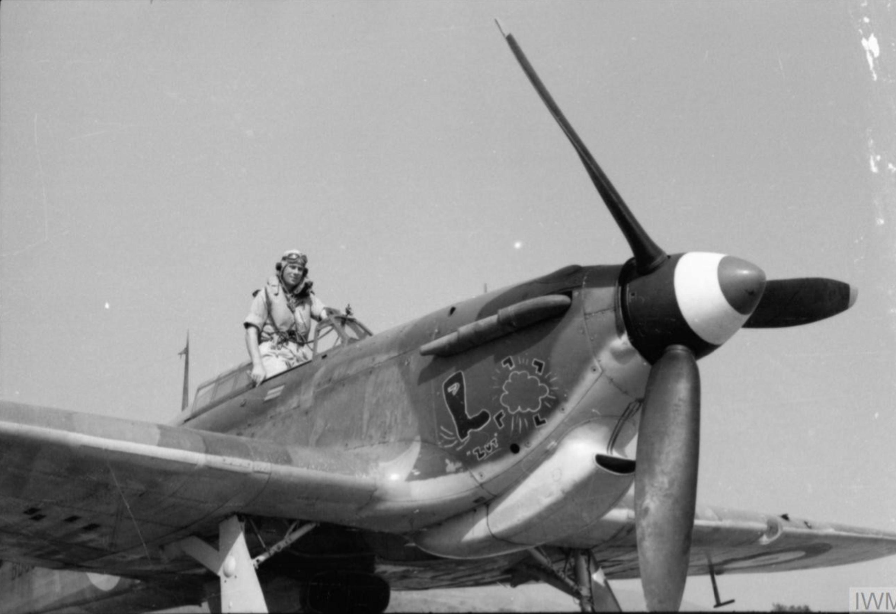 Hurricane IIb Trop RAF 128Sqn BD897 SLdr Billy Drake at Hastings Sierra Leone April 1942 IWM CM2531
