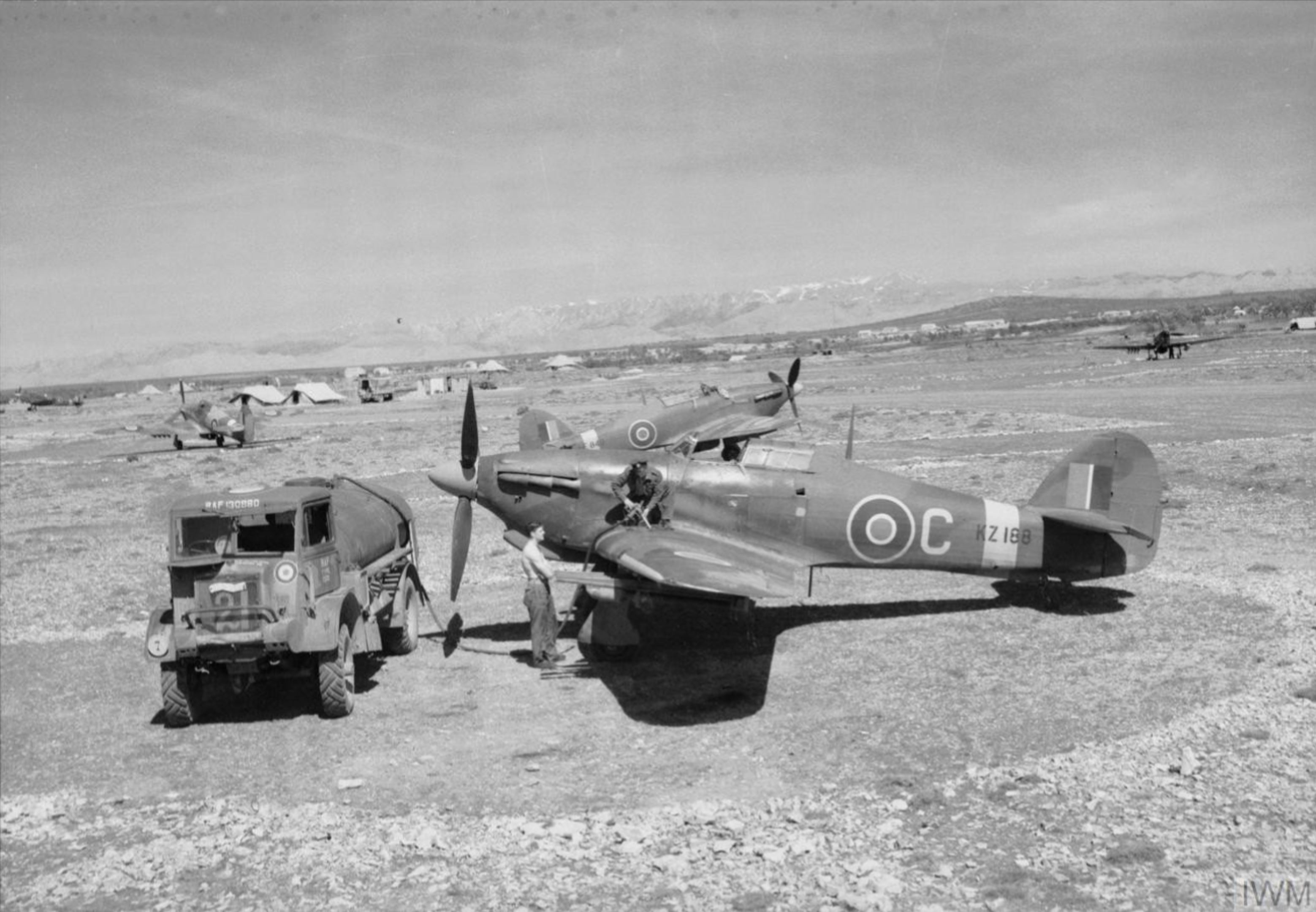 Hurricane IV RAF C KZ188 being refuelled at Prkos Yugoslavia IWM CL3480