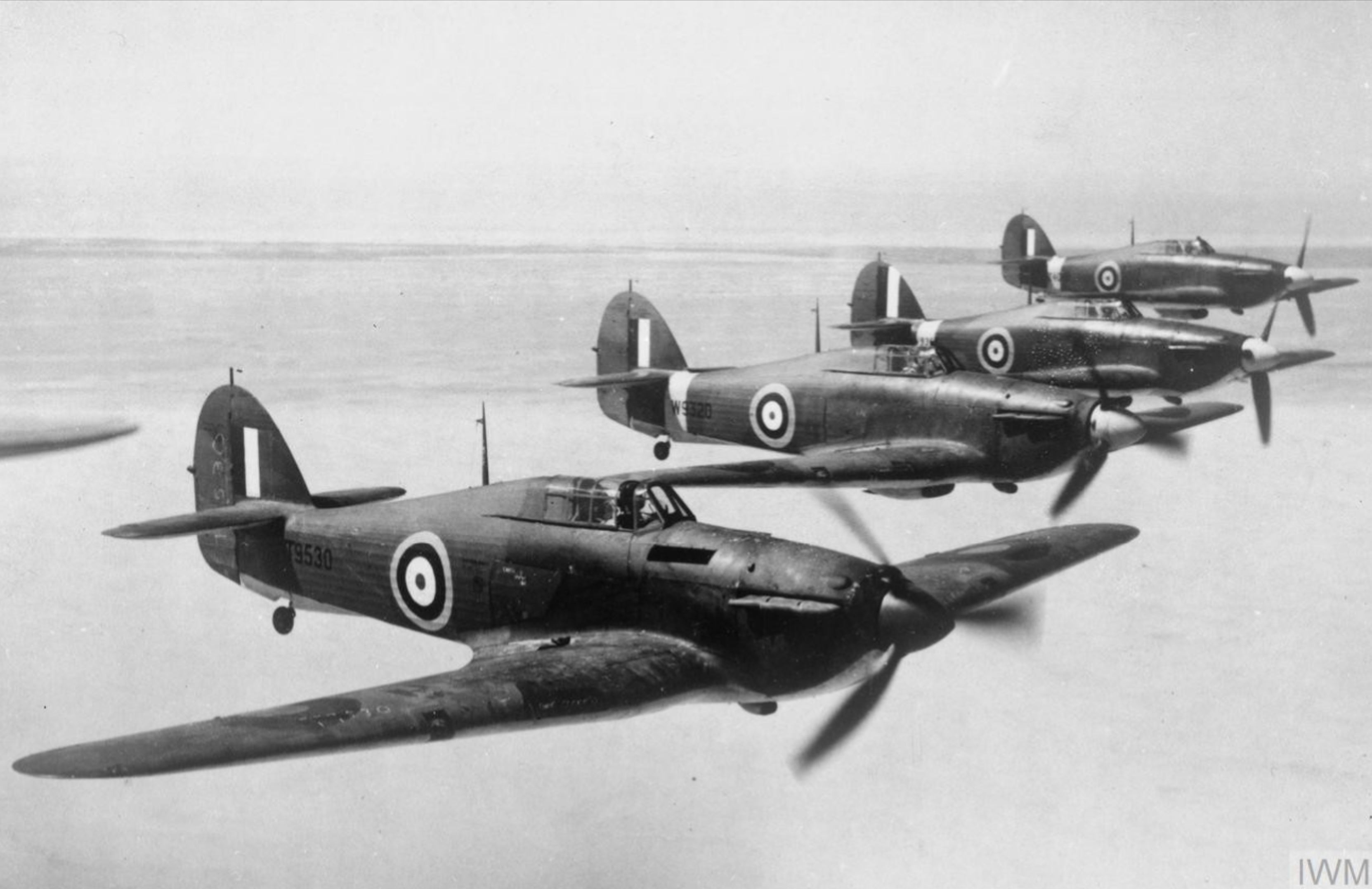 Hurricane Is RAF T9530 W9320 W9349 and Z4095 reinforcement aircraft arriving in Egypt IWM CM849