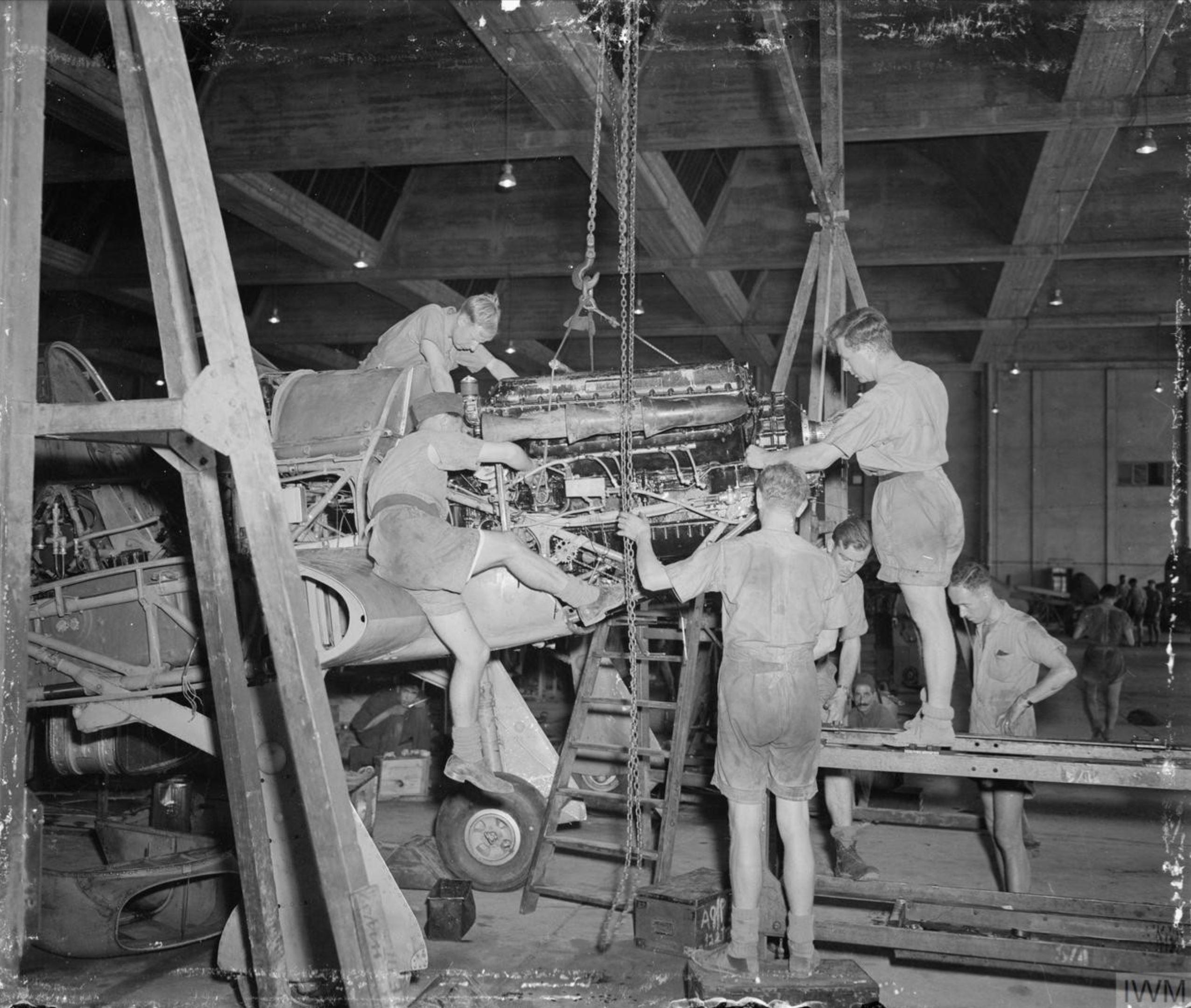 Hurricane RAF 144 Maintenance Unit at Maison Blanche Algeria IWM CNA2251