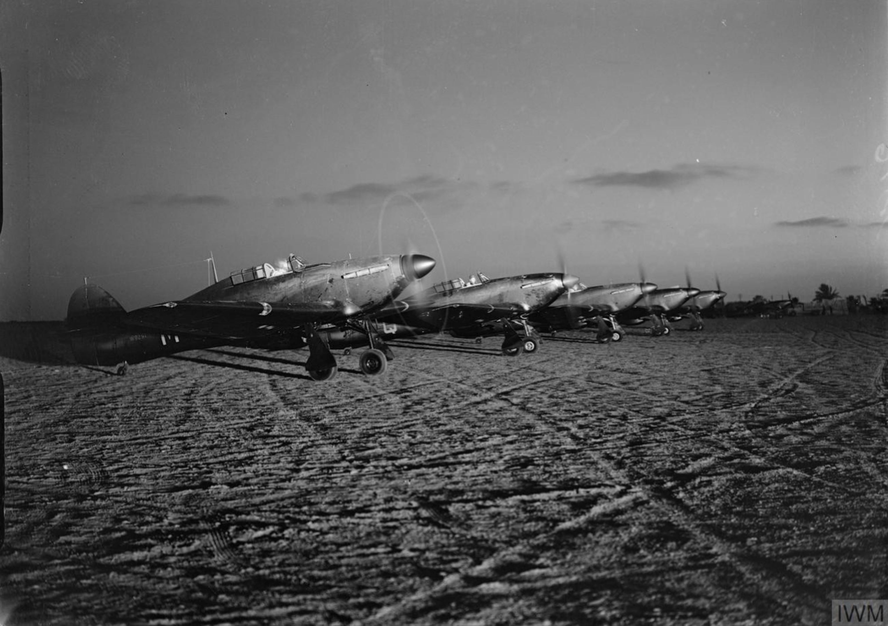Nightfighter Hurricanes RAF 30Sqn M W9291 based in Egypt flew night patrols over the Suez Canal IWM 01