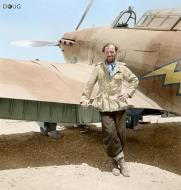 Asisbiz Aircrew RAF 274Sqn FlLt Dudley SG Honor poses by a Hurricane at Gerawala Egypt 01