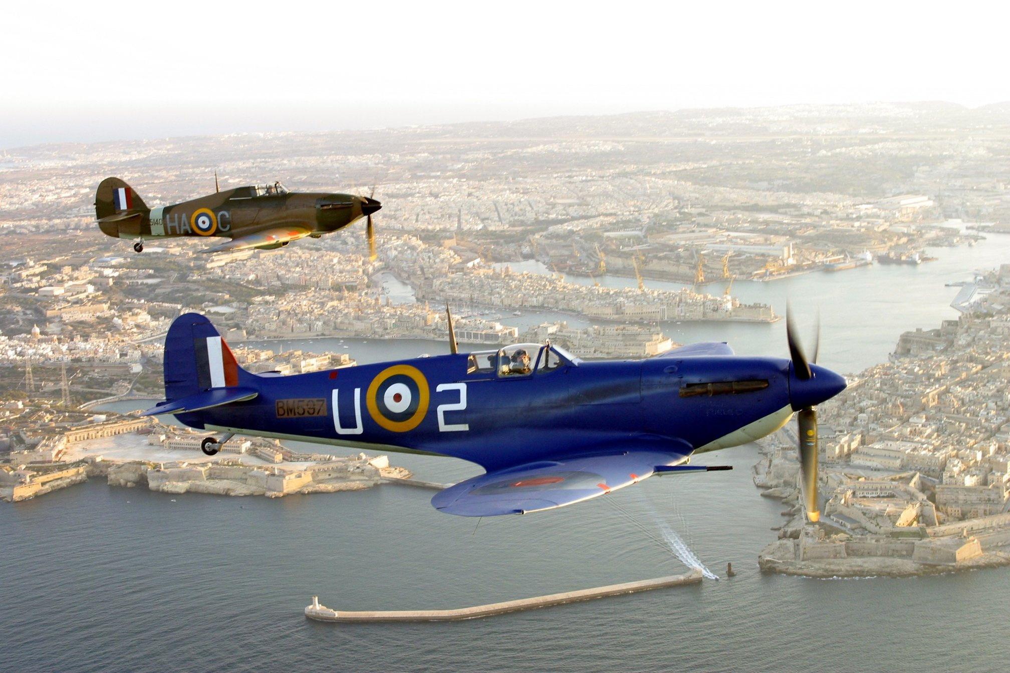 Airworthy Warbird Hawker Hurricane and Spitfire over Malta 01