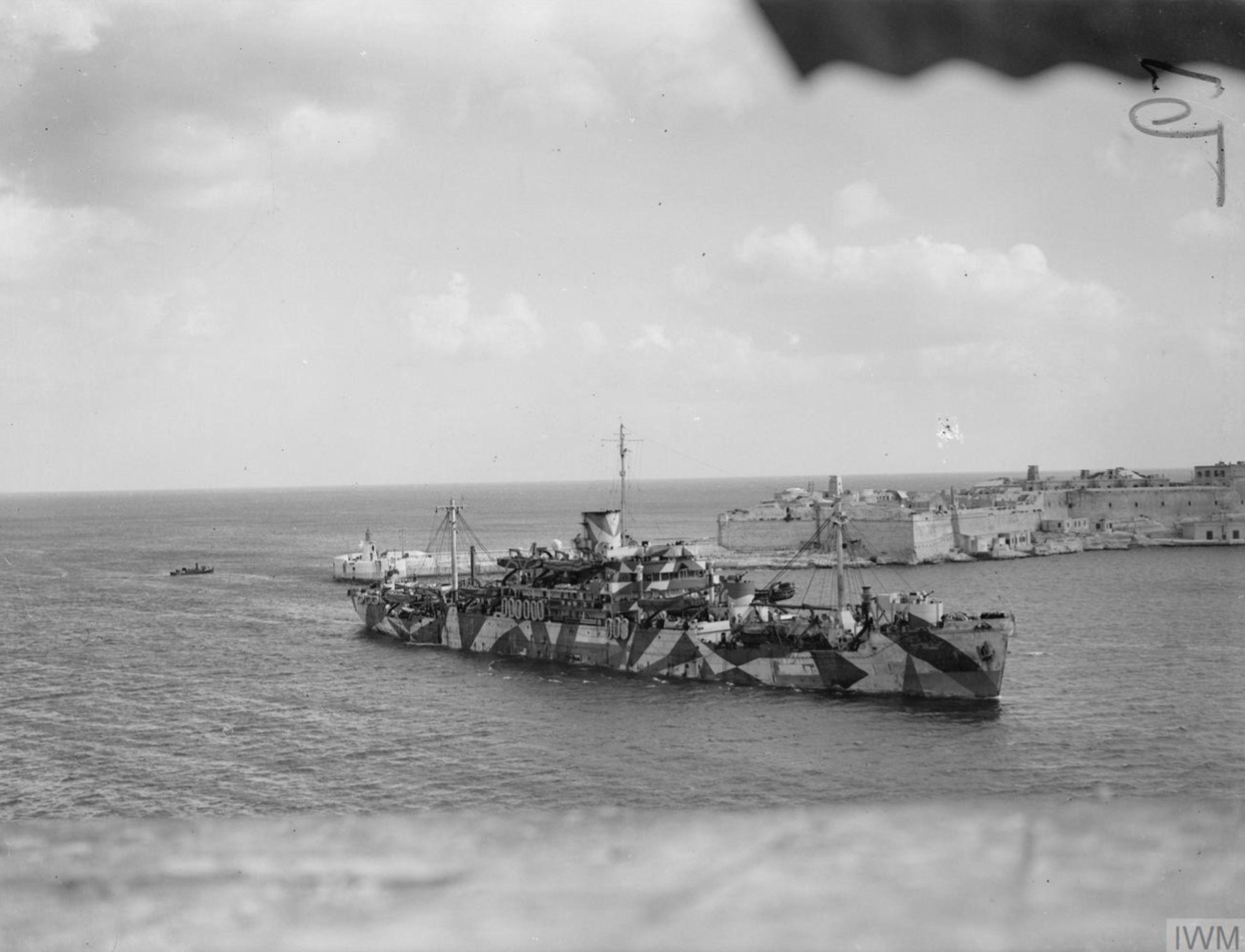 British Merchantman Glengyle entering grand harbour Valletta Malta 8th Jan 1942 IWM A7270